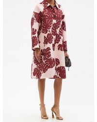 La DoubleJ Boxy Monstera-print Wool-blend Crepe Coat - Pink