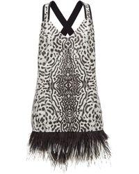Proenza Schouler Robe courte à jacquard léopard et ourlet plumes - Multicolore