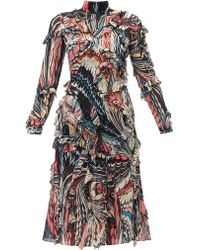 Mary Katrantzou Abstract-print Ruffled Silk-georgette Dress - Black