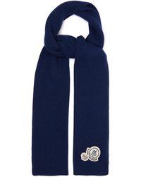 Moncler ロゴパッチ ウールブレンド リブスカーフ - ブルー