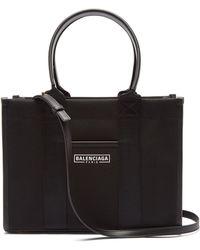 Balenciaga ネオ S レザーコットンキャンバス トートバッグ - ブラック