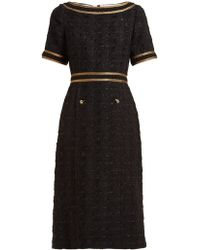 e2c45950dcf894 Gucci - Ribbon Trimmed Embroidered Tweed Dress - Lyst