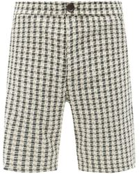 Oliver Spencer Checked Open-weave Cotton Straight-leg Shorts - Multicolour