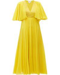Giambattista Valli Butterfly Sleeve Silk Chiffon Midi Dress - Yellow