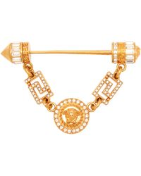 Versace Crystal-embellished Medusa Head Coin Brooch - Multicolour