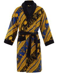 Versace I Love Baroque Printed Cotton Bathrobe - Blue
