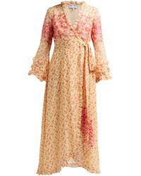 Luisa Beccaria - Floral Print Georgette Wrap Dress - Lyst