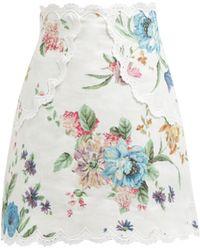 Zimmermann - Ninety Six Floral Printed Linen Skirt - Lyst