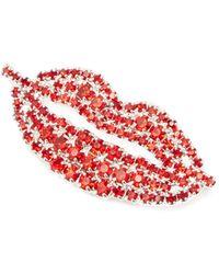 ART SCHOOL Lips Crystal-embellished Brooch - Red