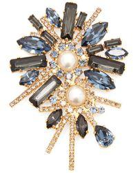 Erdem Bloom Crystal Embellished Double Pearl Brooch - Blue