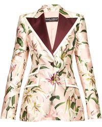 Dolce & Gabbana - フローラルプリント シャンタン シングルジャケット - Lyst