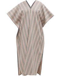 Jil Sander Striped V-neck Wool-blend Kaftan - Gray