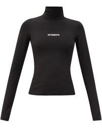 Vetements Logo-print Roll-neck Jumper - Black