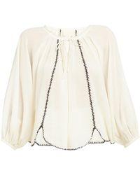 Anaak Lago Drawstring-neck Cotton Blouse - White