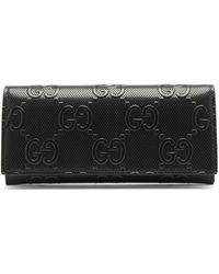 Gucci GG-logo Embossed-leather Wallet - Black