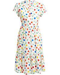 HVN Charlotte Cherry Print Ruffled Silk Midi Dress - Multicolour