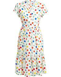 HVN Charlotte Cherry-print Ruffled Silk Midi Dress - Multicolour
