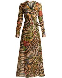 Adriana Iglesias - Beverly Zebra-print Silk Chiffon Dress - Lyst