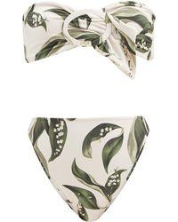 Adriana Degreas Muguet-print Bandeau Bikini - Multicolour