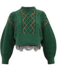 Self-Portrait Braided Sweater With Contrasting Stitching - Green