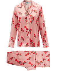 BERNADETTE Red Blossom-print Silk-blend Satin Pyjamas - Pink