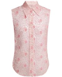 Miu Miu - Floral Lace Point Collar Sleeveless Shirt - Lyst
