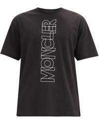 3 MONCLER GRENOBLE コットンジャージー ロゴtシャツ - ブラック