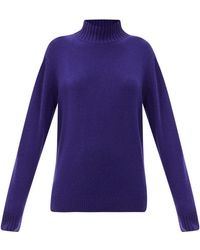 The Elder Statesman Oversized High-neck Cashmere Jumper - Purple