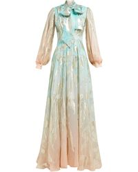 Peter Pilotto Leaf-jacquard Ombré Silk-blend Gown - Blue