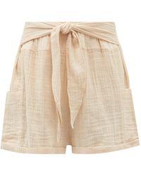 Anaak Jammu Belted Cotton-muslin Shorts - Pink