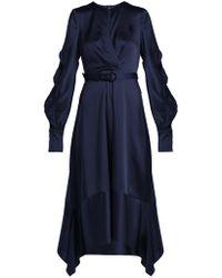 Jonathan Simkhai - Asymmetric Satin Midi Dress - Lyst