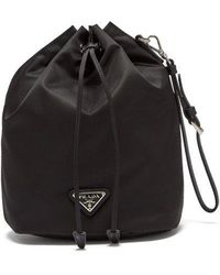 Prada - Leather-trimmed Drawstring Nylon Wash Bag - Lyst
