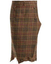 Vetements - Distressed Wool-tweed Wrap Midi Skirt - Lyst