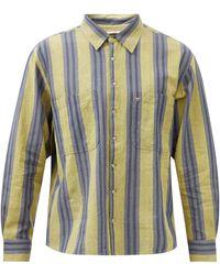 Péro Chemise en toile de coton rayée à poche plaquée - Bleu
