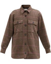 Officine Generale Petra Houndstooth Wool Shirt Jacket - Brown