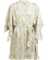 Mes Demoiselles Sally Floral Print Ruffled Satin Kimono Style Robe - Natural