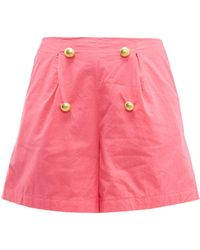 RHODE Reese High-rise Cotton-voile Shorts - Pink