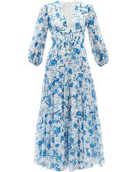 Borgo De Nor フォースティン フローラルコットンシルクボイルドレス - ブルー