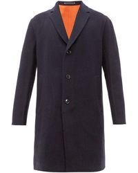 Paul Smith Single Breasted Wool Blend Overcoat - Blue