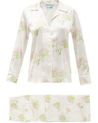 BERNADETTE Floral-print Silk-blend Satin Pyjamas - Natural