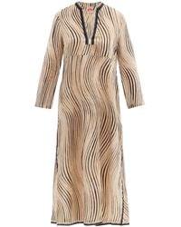 Le Sirenuse Gaida Wind-print Cotton Midi Dress - Natural