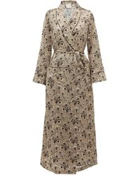 Morpho + Luna X Kinloch Milano Bianca Floral-print Silk Robe - Natural