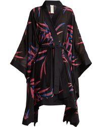 Diane von Furstenberg - Fern-print Cotton And Silk-blend Kimono Robe - Lyst