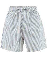 Tekla Striped Organic-cotton Pyjama Shorts - Blue