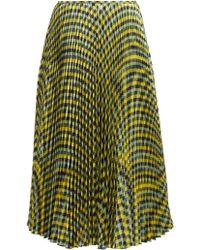 JOSEPH - Abbot Pleated Checked Silk-twill Midi Skirt - Lyst