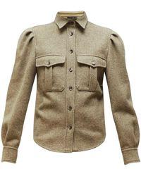 Isabel Marant Florrie Puffed-sleeve Wool-blend Overshirt - Natural