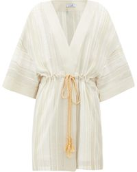 MY BEACHY SIDE Kiskaf Gold-striped Open-front Cotton Robe - Multicolor