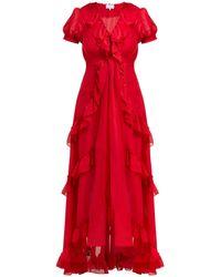 Luisa Beccaria Ruffle-trimmed Chiffon Dress - Red