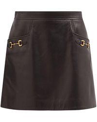 Gucci ホースビット ハイライズ レザーミニスカート - ブラック