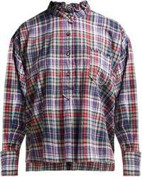 Étoile Isabel Marant Dresden Ruffle Collar Check Shirt
